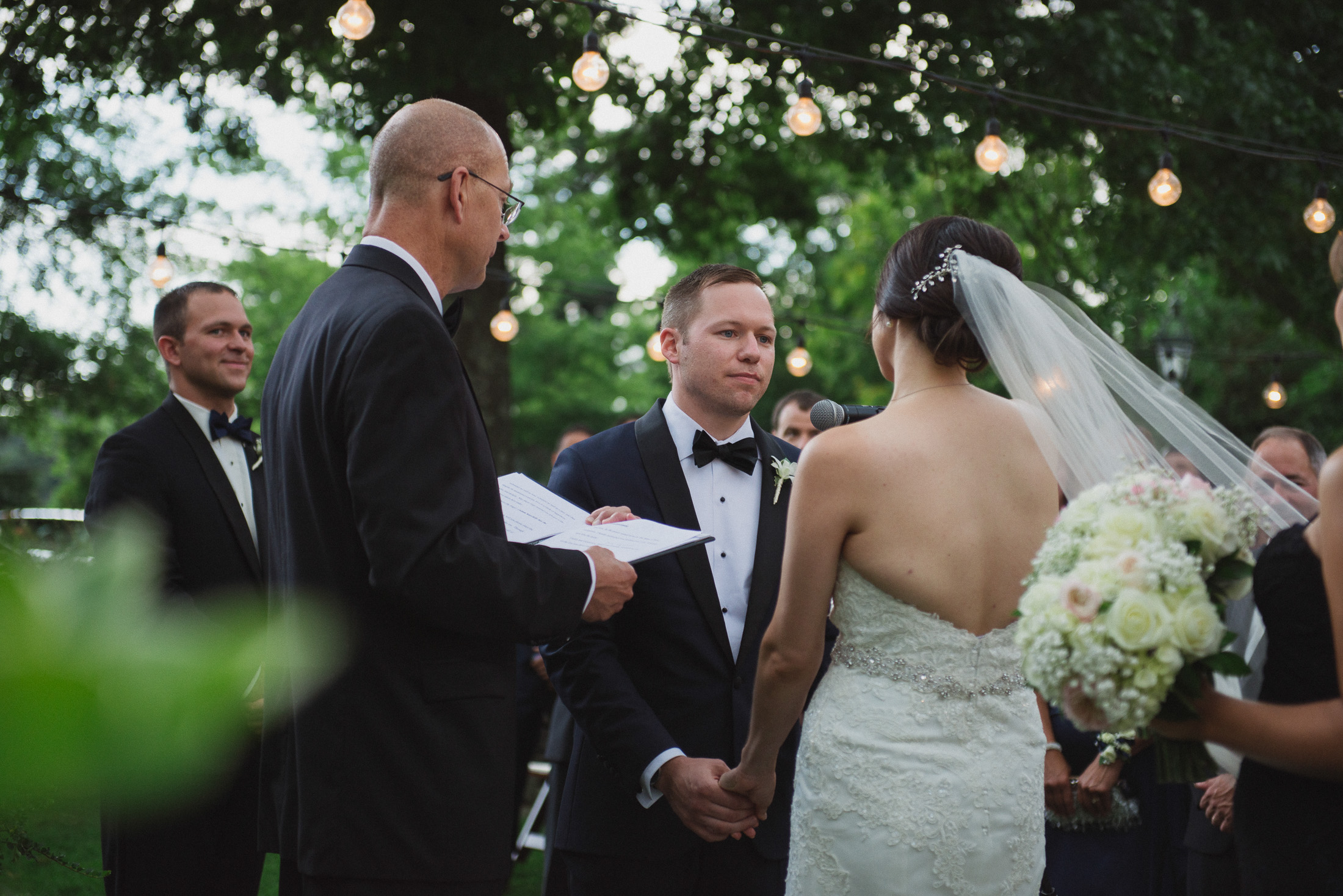 NH Wedding Photographer: ceremony with lights
