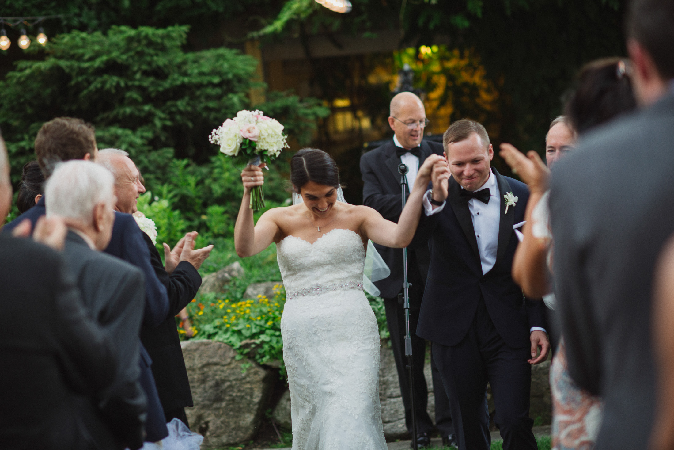 NH Wedding Photographer: recessional in Bedford NH