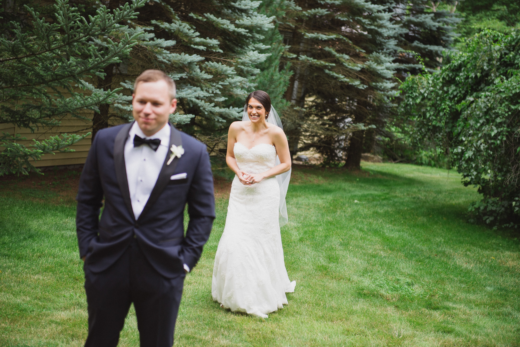 NH Wedding Photography: bride and groom first look