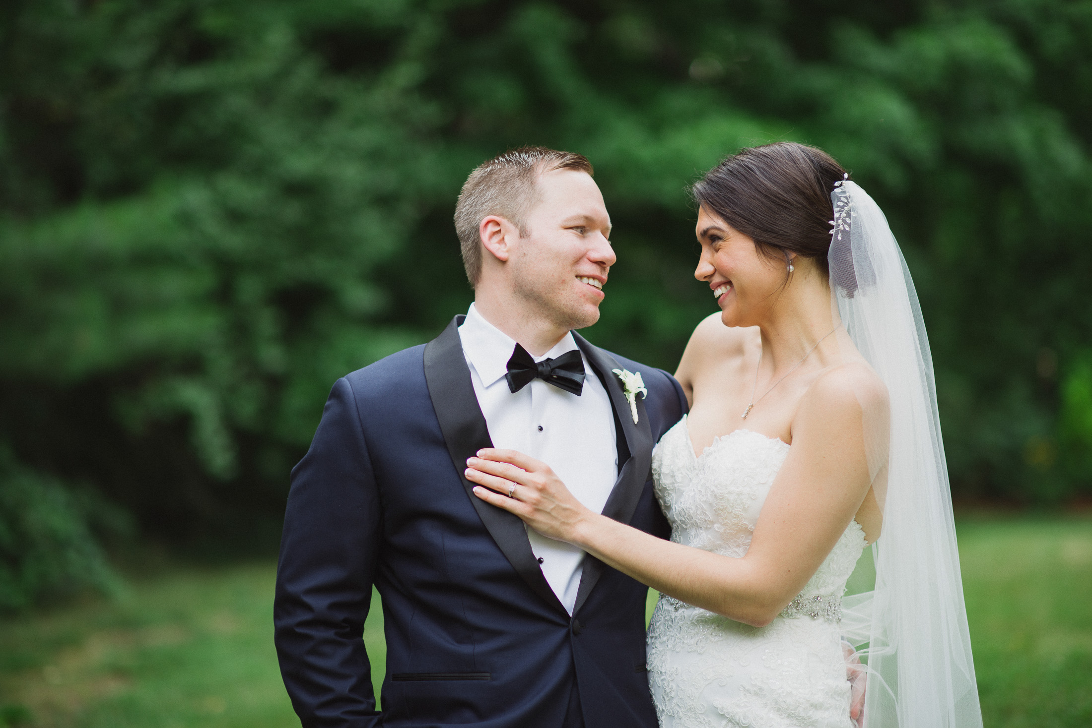 NH Wedding Photography: bride and groom looking at each other