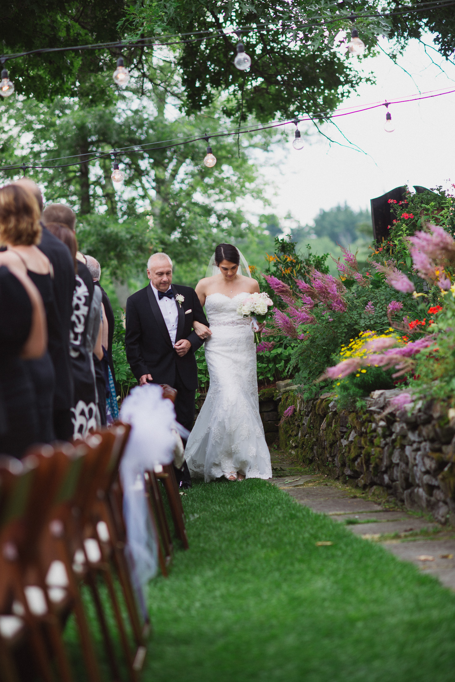 NH Wedding Photography: dad walking with bride