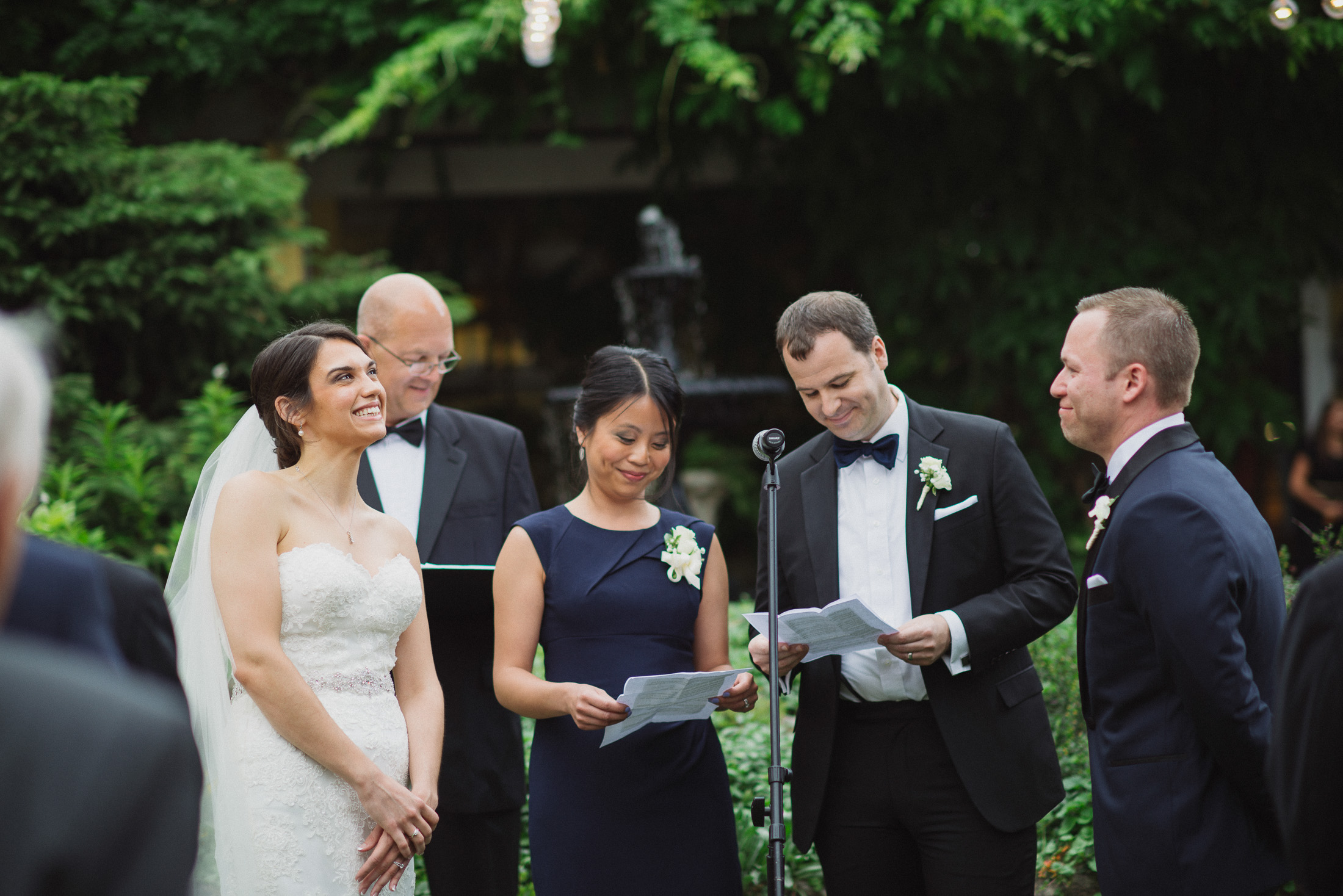 NH Wedding Photography: couple laughing at ceremony