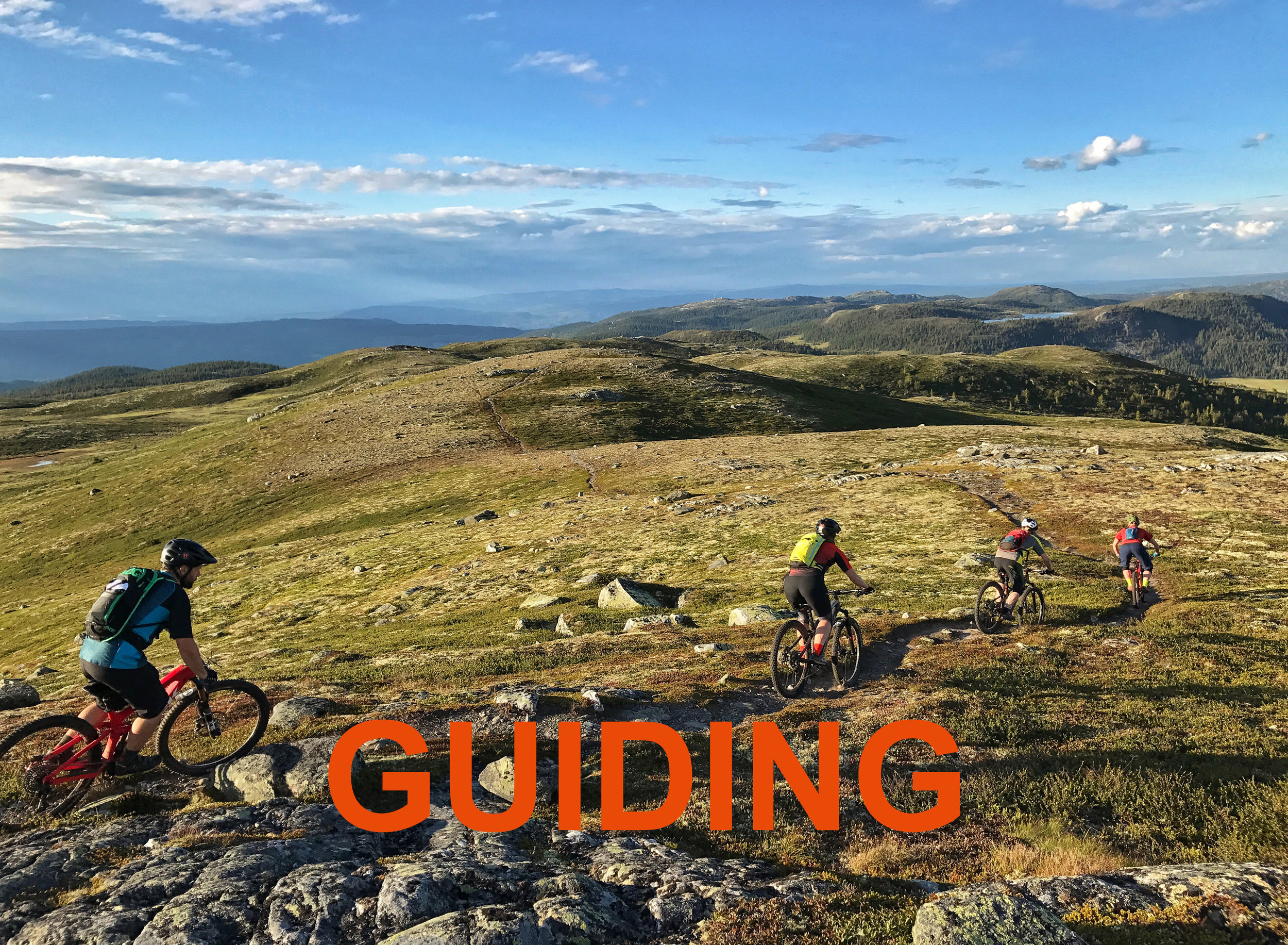 Guiding - Ready to try new trails? We can take you out riding in the mountains or hills.