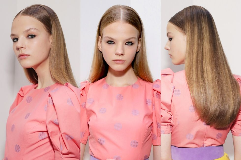 Carolina Herrera: Blowout straight hair with curved ends