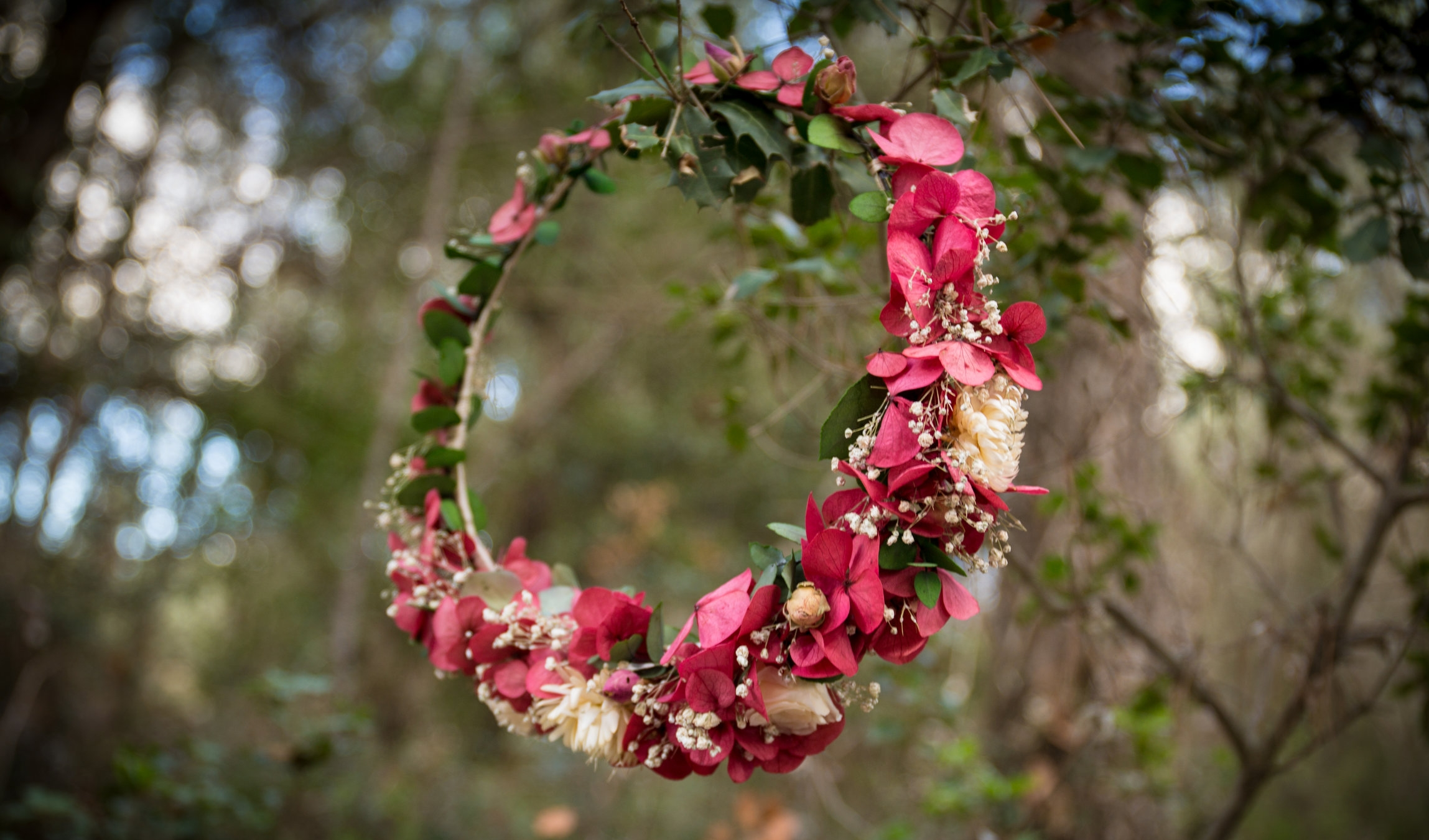 corona hortencias y rosas