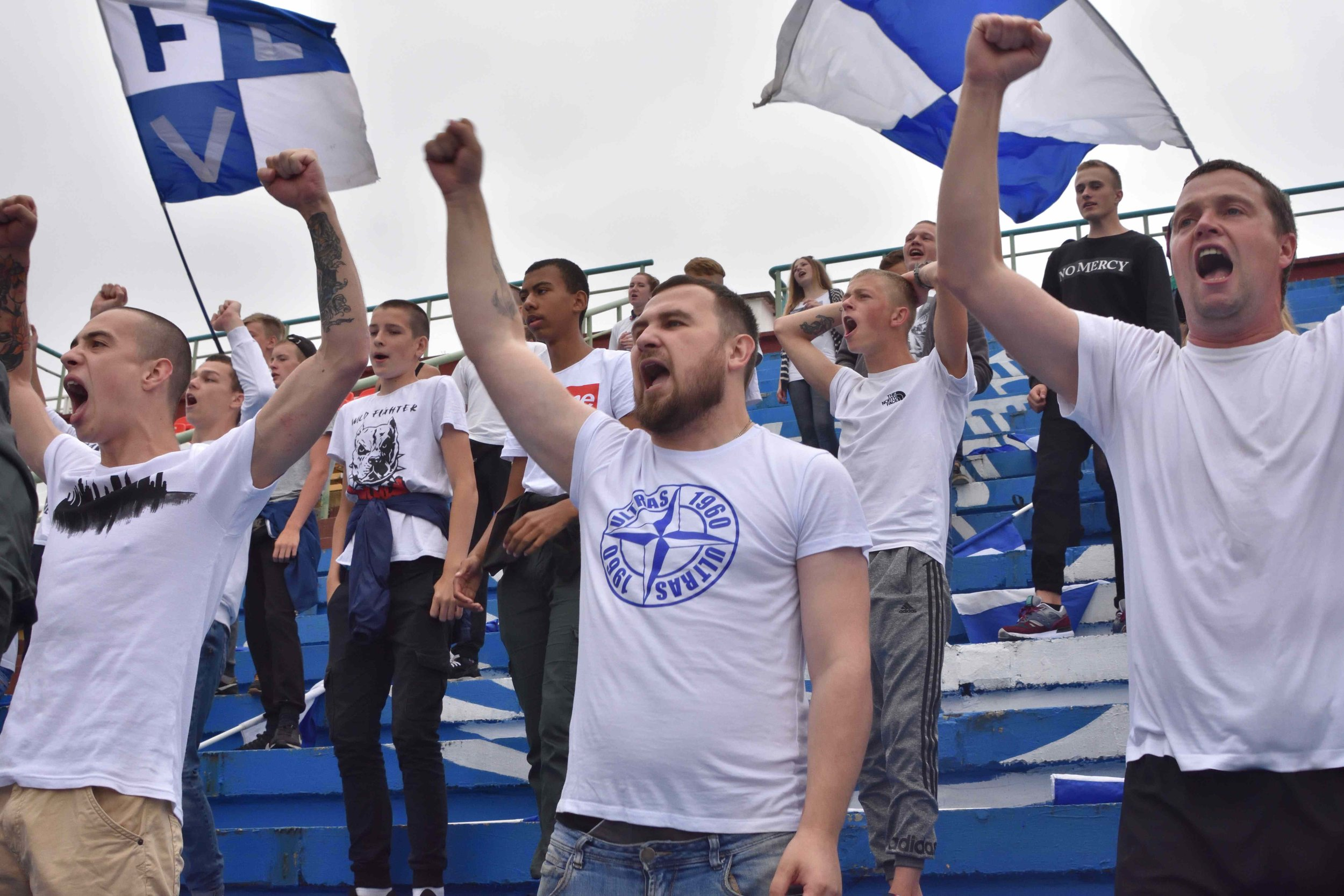 "Vitebsk fans. ""Being an obviously foreign tourist that just want to watch the local club, it's get you really on their side"" (55footballnations.com / Matt Walker)"