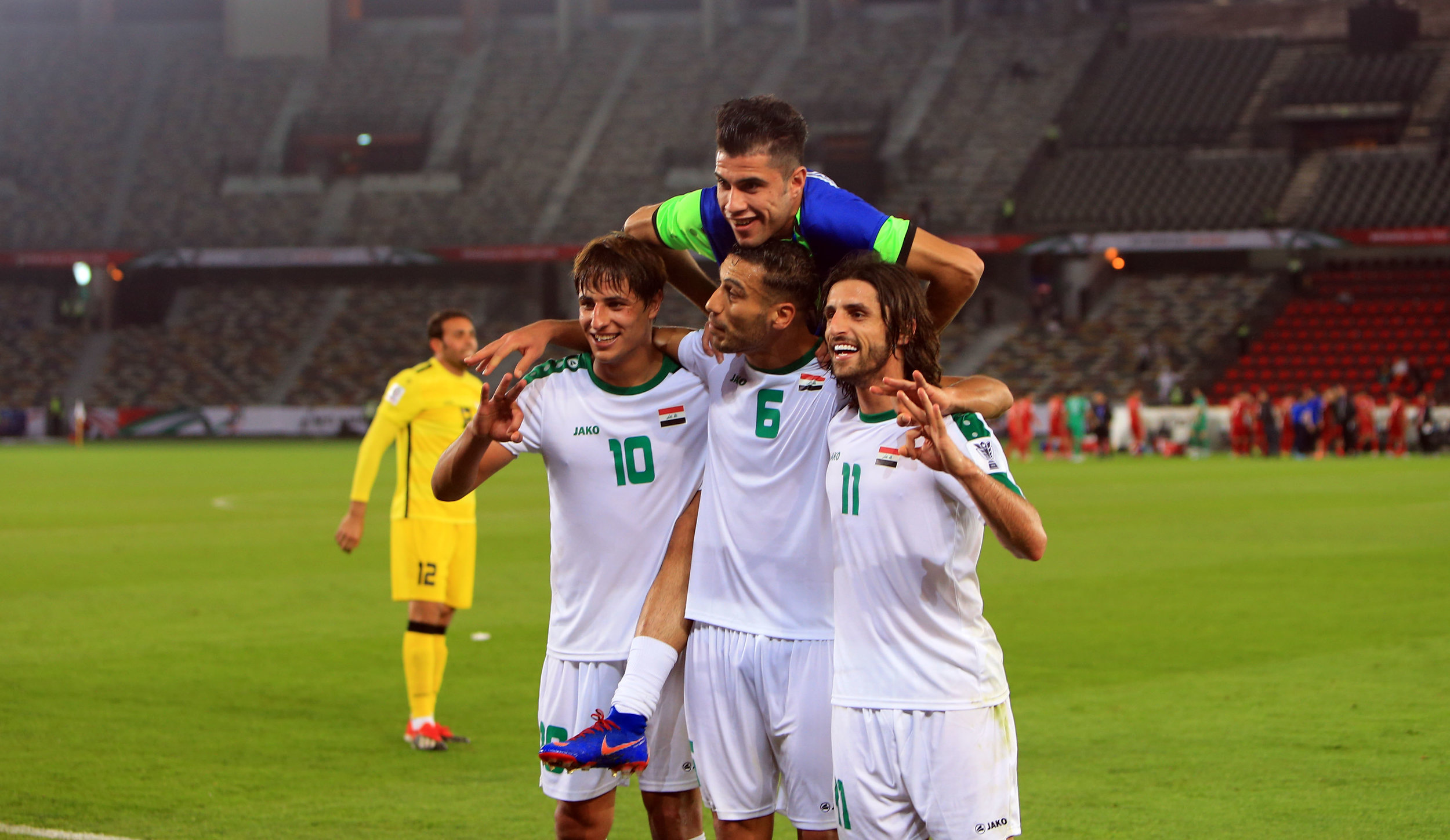 Mohanad Ali, Ali Adnan and Humam Tariq, brought the first win to Iraq (2019 Asian Football Confederation (AFC))