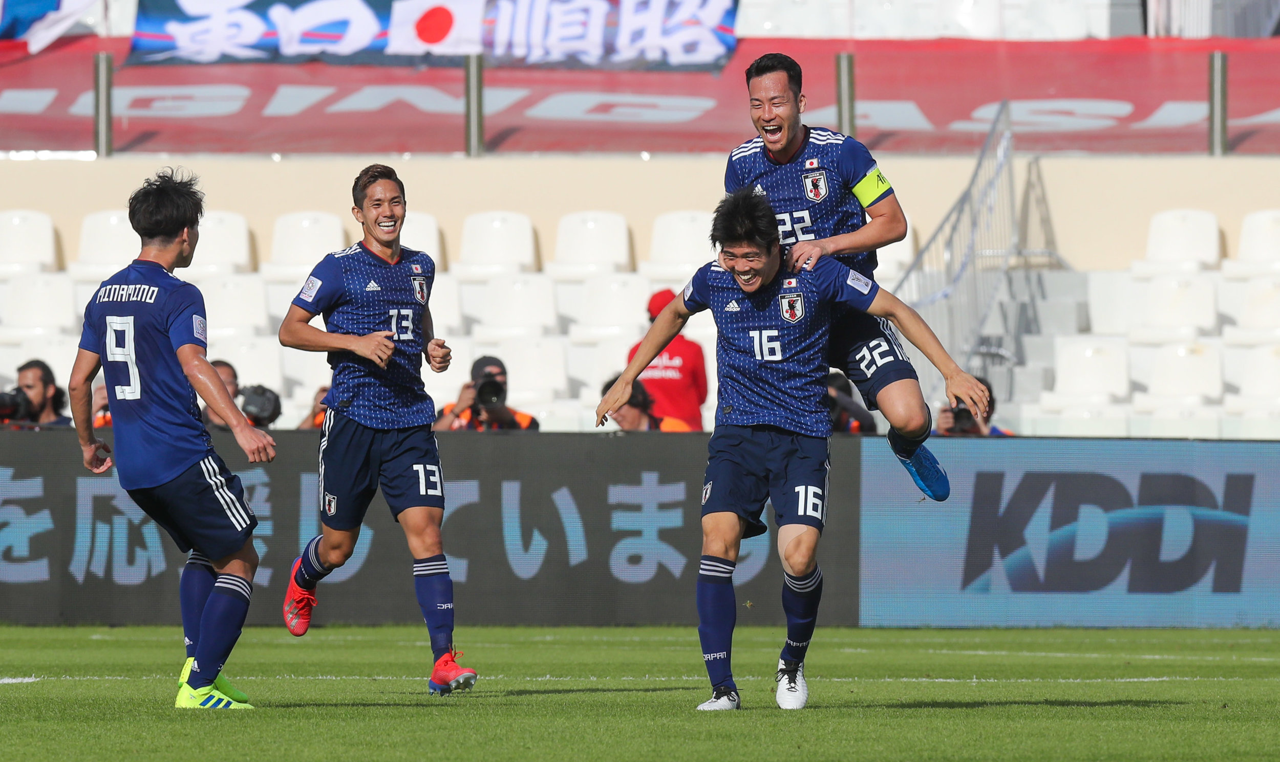 Takehiro Tomiyasu celebrates, Japan will need to find a way to make their tactics more effective (Asian Football Confederation (AFC))