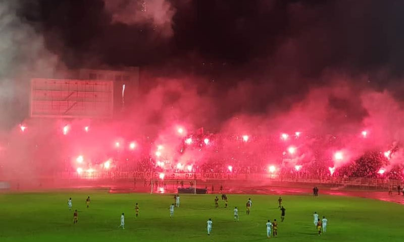 A pyro show in the Syrian league. Photo: Ultras Eagles