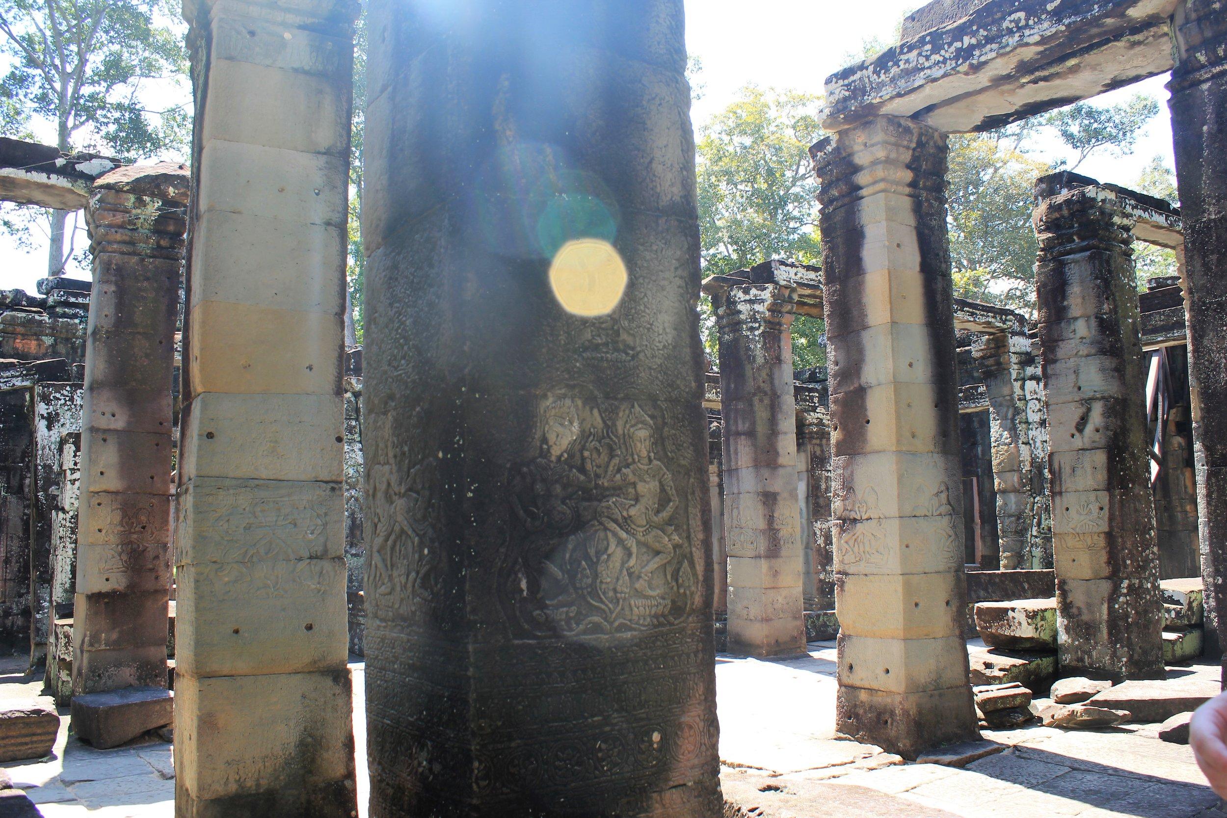 The sun in Angkor Wat