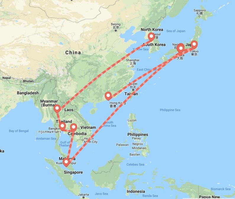 7 Countries in 27 Days Itinerary via Que Sera Sahra