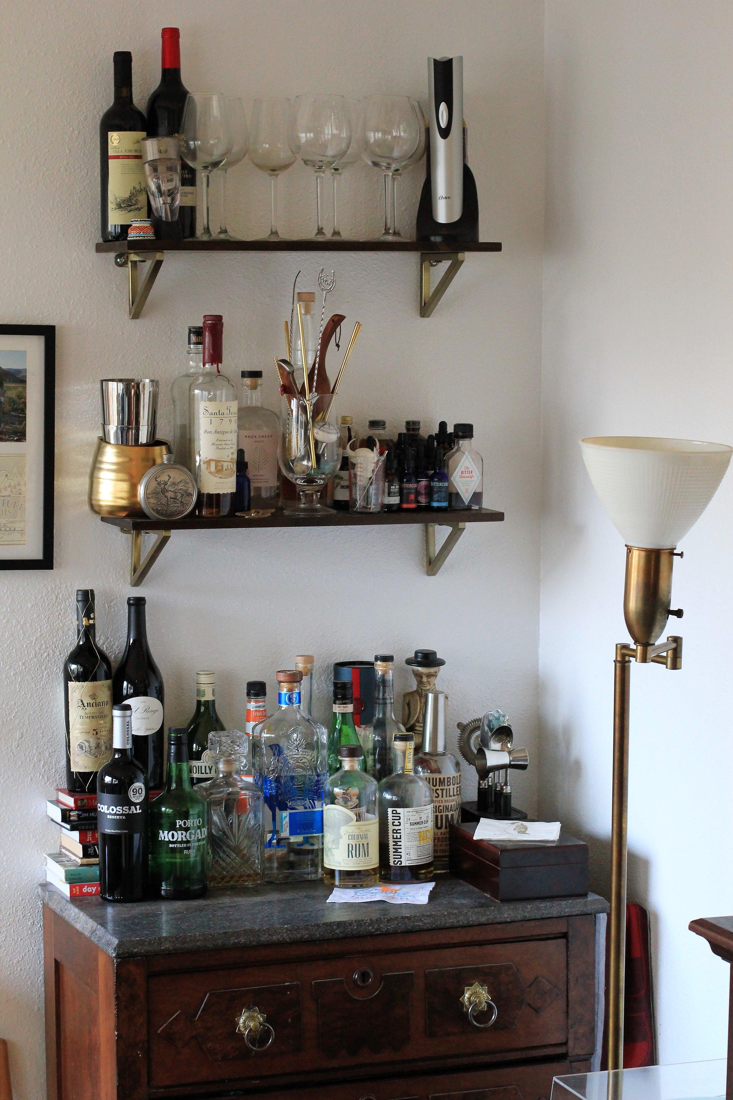 Organized bar cart - Que Sera Sahra's SF home