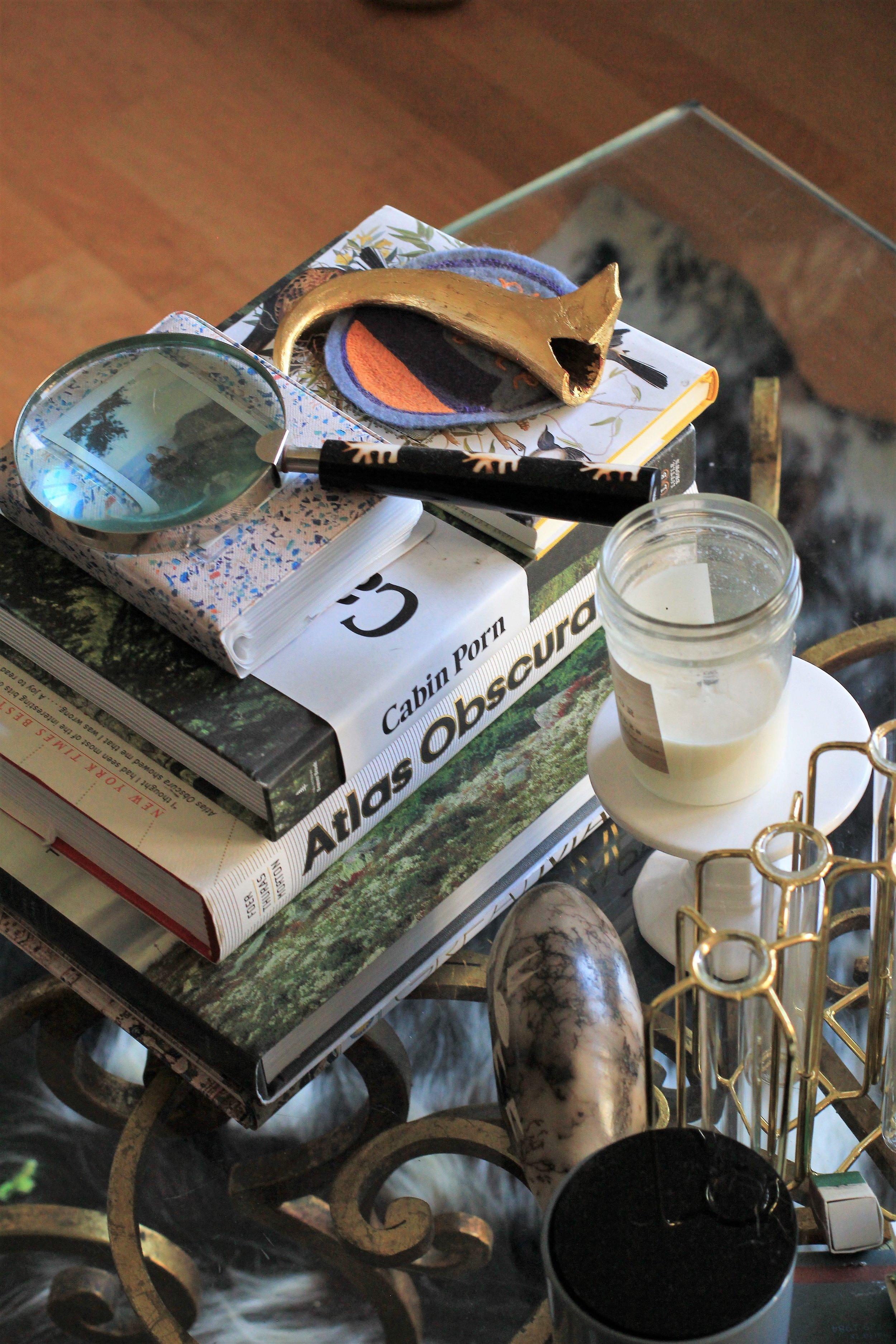 coffee table decor - Que Sera Sahra's SF home