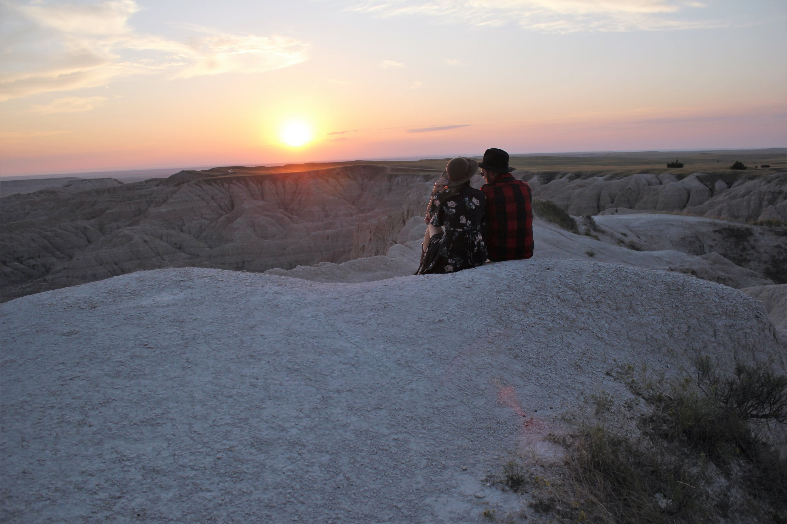 Cute Couple Sunset in the Badlands