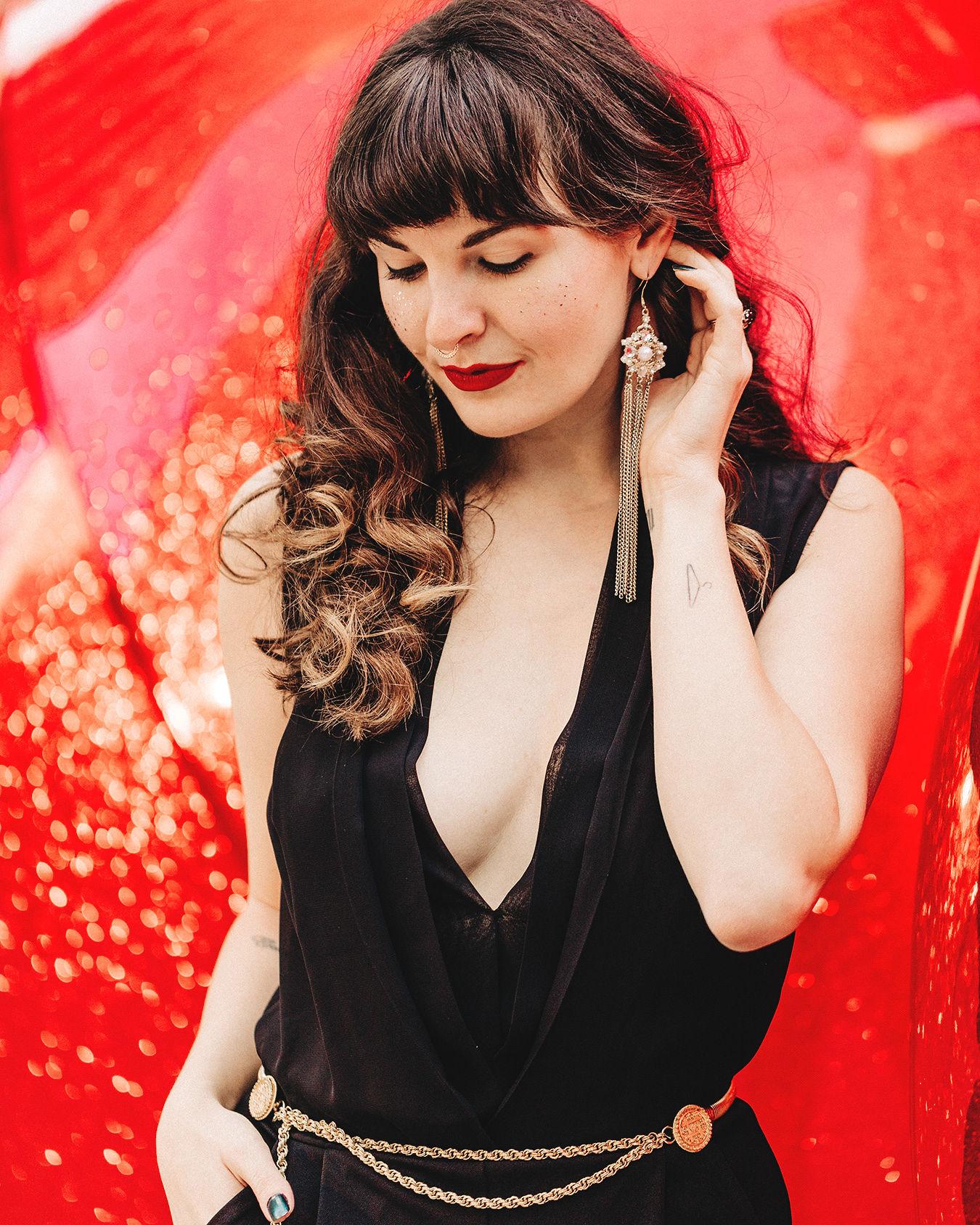 Deep V Black Jumpsuit for NYE Style via SF Blogger Que Sera Sahra
