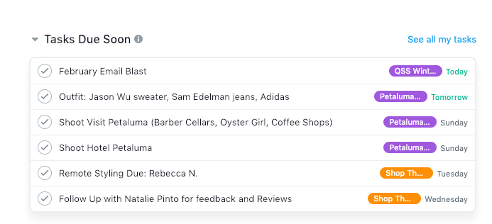 - Staying on top of tasks and due dates with Asana.
