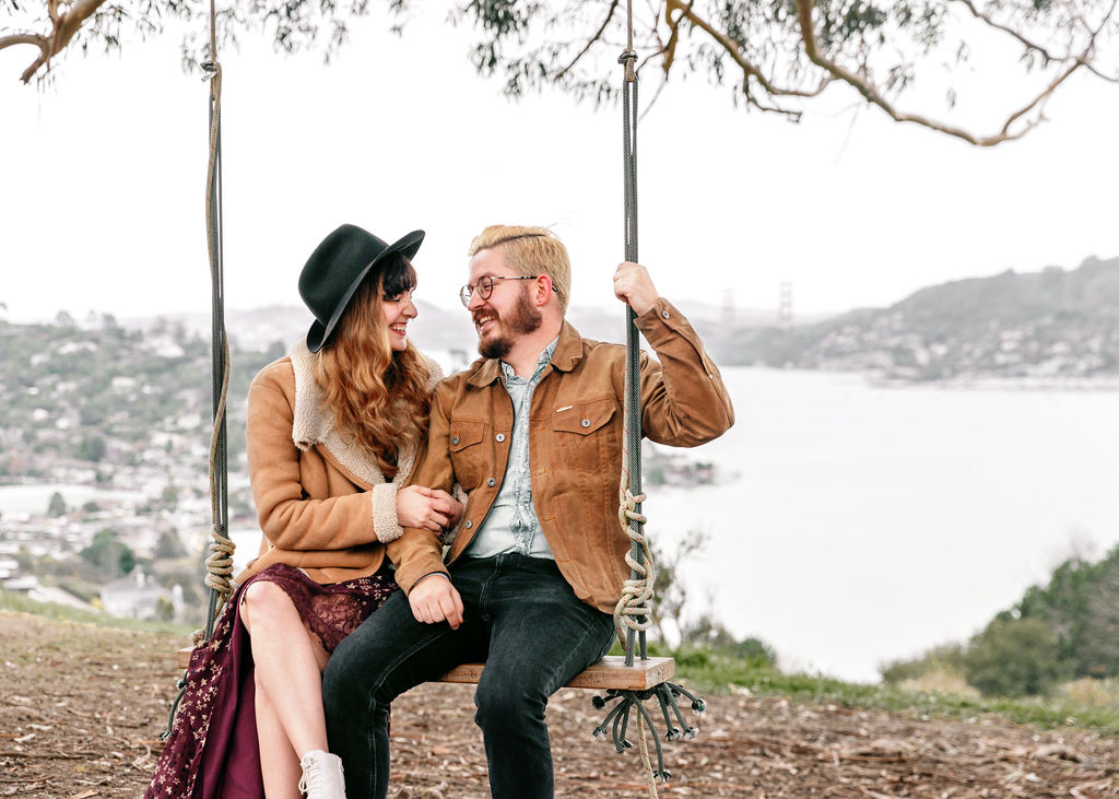 Stylish Couple on Swing - Golden Gate Bridge