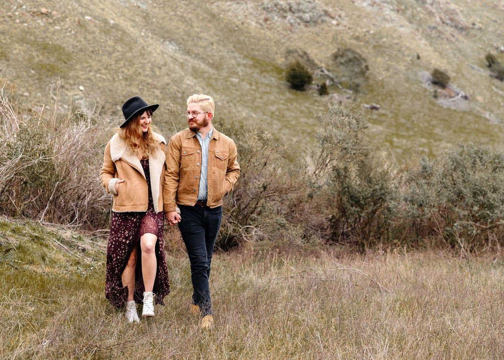 Stylish Couple in Field - Engagement Photos