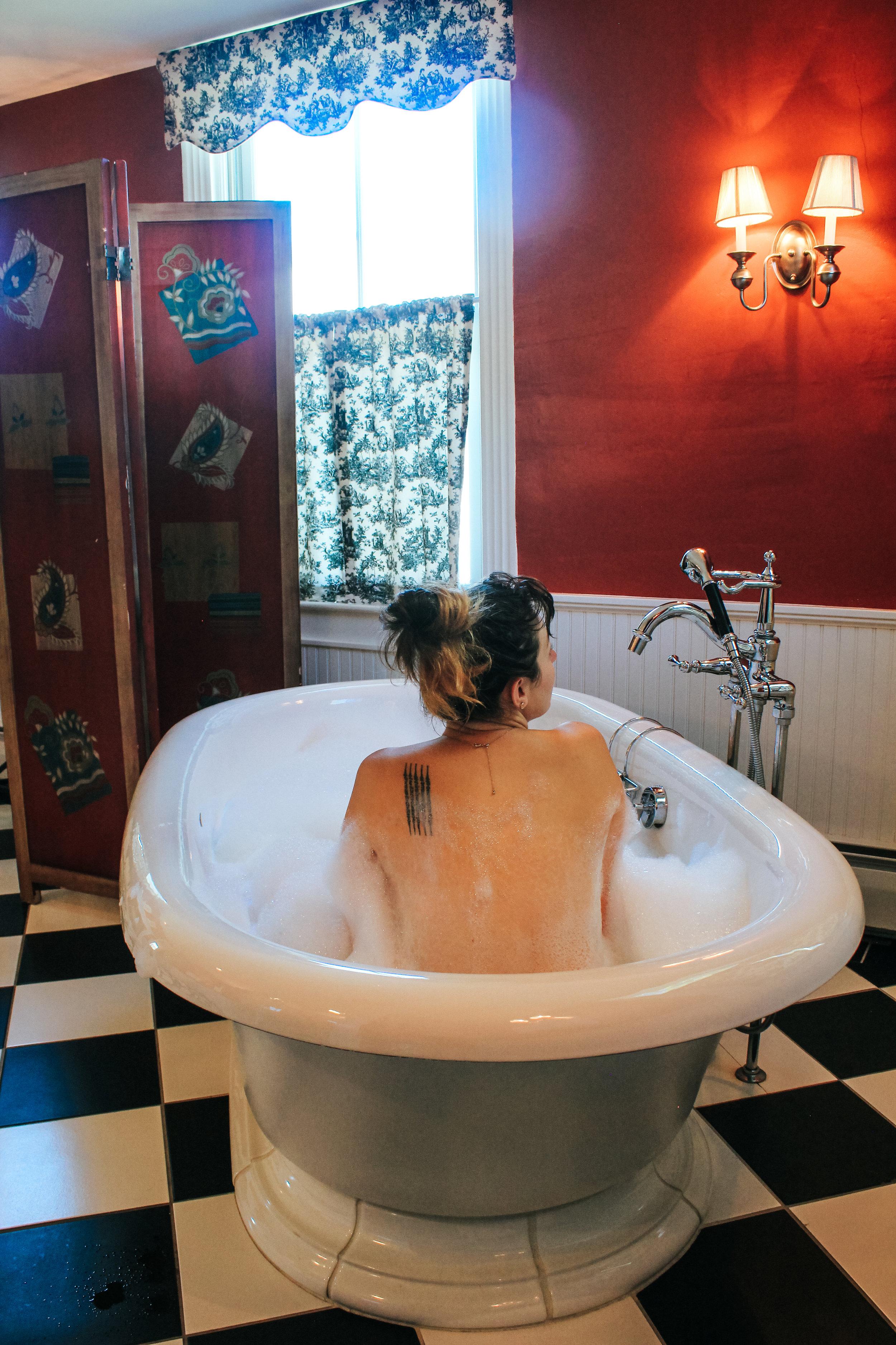 Luxurious Soaker Tub at the Four Columns Inn, Newfane, Vermont