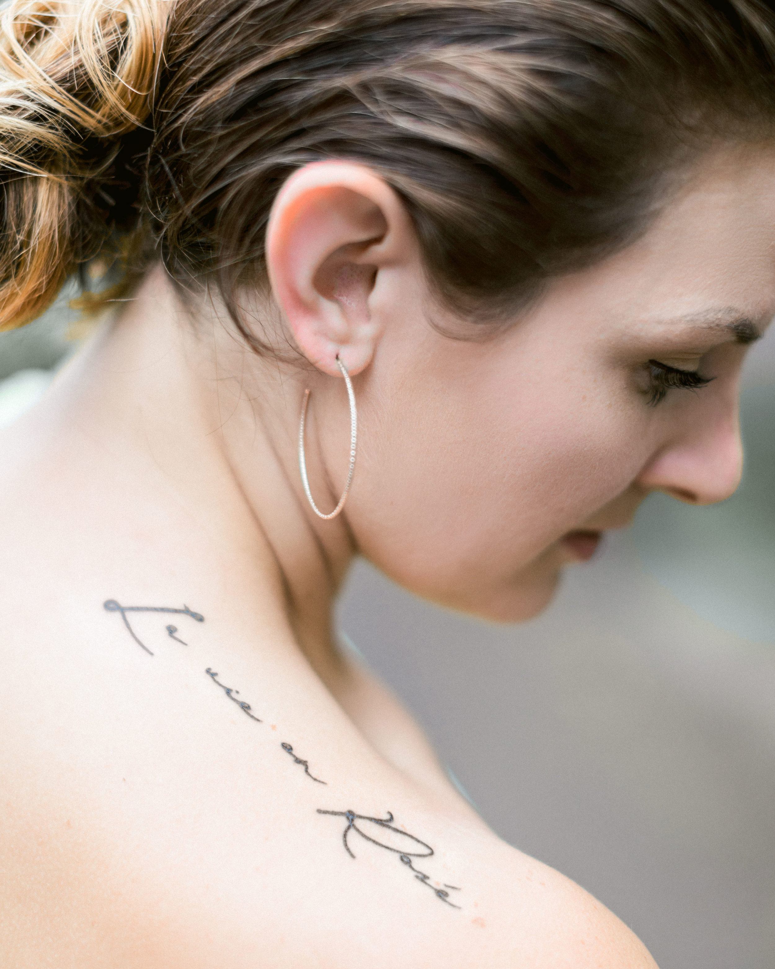LA Vie en Rose tattoo shoulder tattoo script