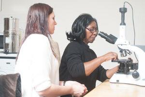 A student using the Brunel Haemascope
