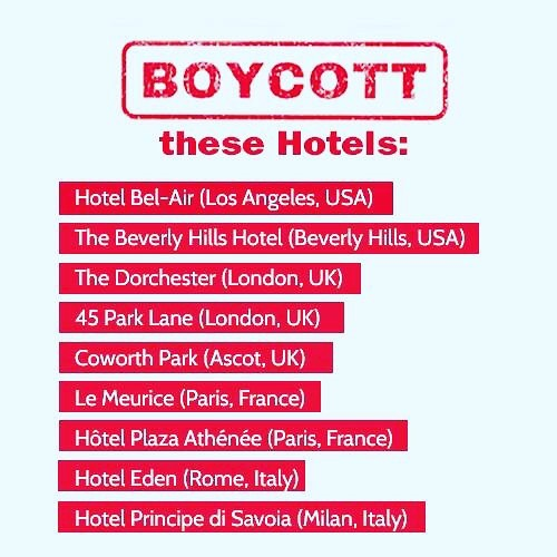 Tomorrow, the country of Brunei will start stoning gay people to death. We need to do something now. Please boycott these hotels owned by the Sultan of Brunei. Raise your voices now. Spread the word. Rise up. #boycottbrunei