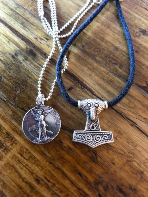 5.  Archangel Michael Pendant by Rosa Mystica on Etsy  / Thor Hammer Pendant  (Sorry no link to the Thor Hammer - I picked it up at a Viking market during Glasgow's summer festival.)