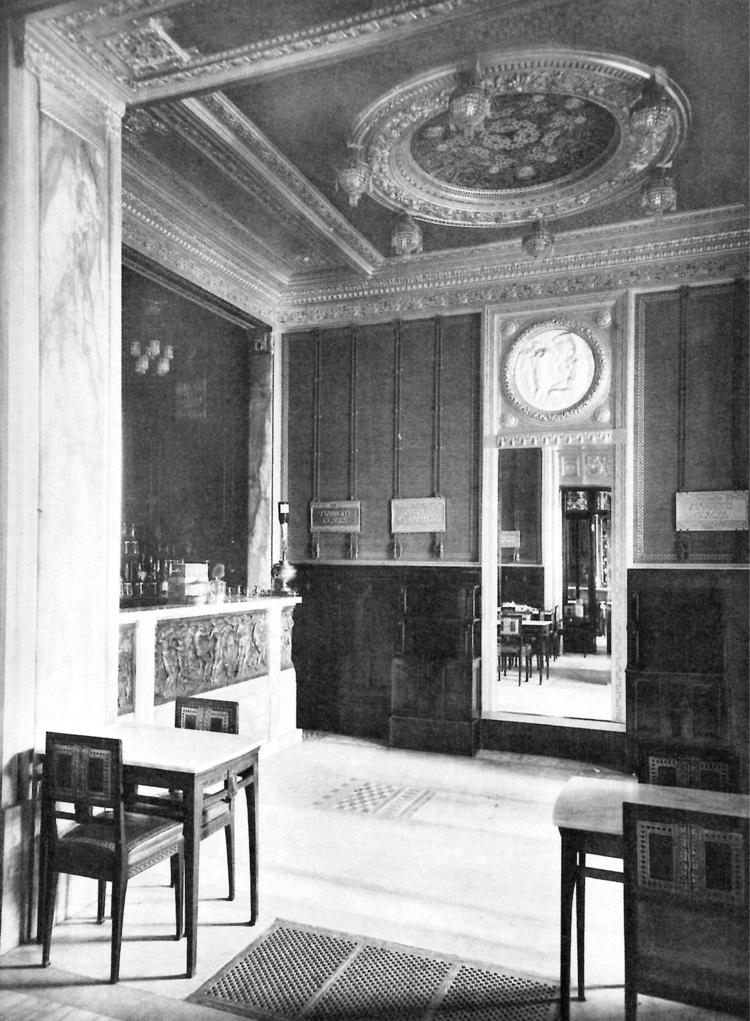 Intérieur de la confiserie Baratti & amp;  Milan après l'élargissement de 1911 sur un projet de Giulio Casanova et Edoardo Rubino, & nbsp; dans «L'environnement moderne, II [1910-1911], pl.  85