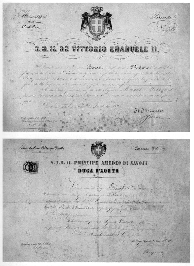 Brevets pour l'utilisation d'armoiries dynastiques dans les enseignes de magasin, Bra, Stabilimento Baratti & amp;  Milan, archives historiques
