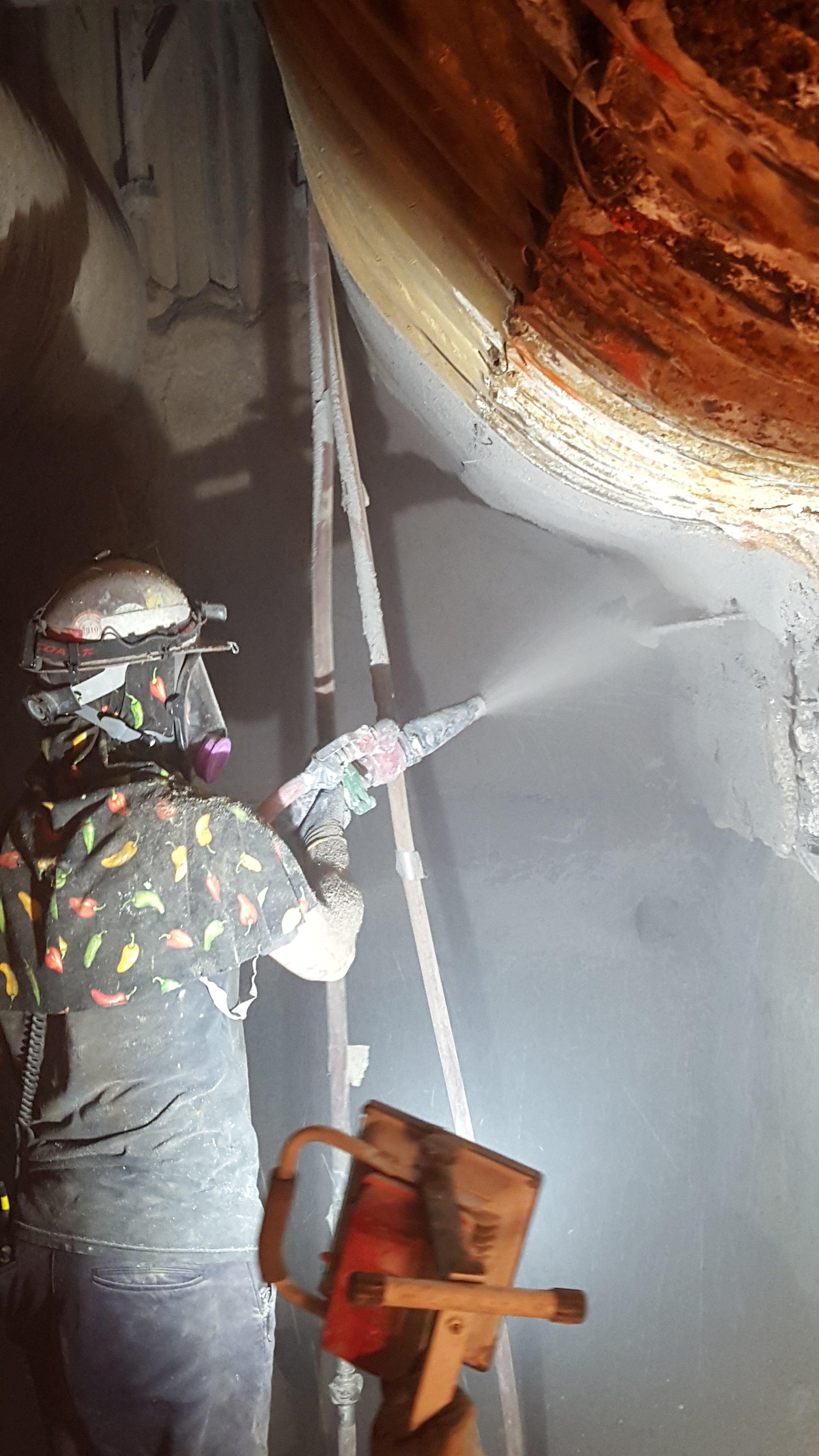 Wet Bottom Ash Hopper Shotcrete Repair - Coal Fired Power Plant