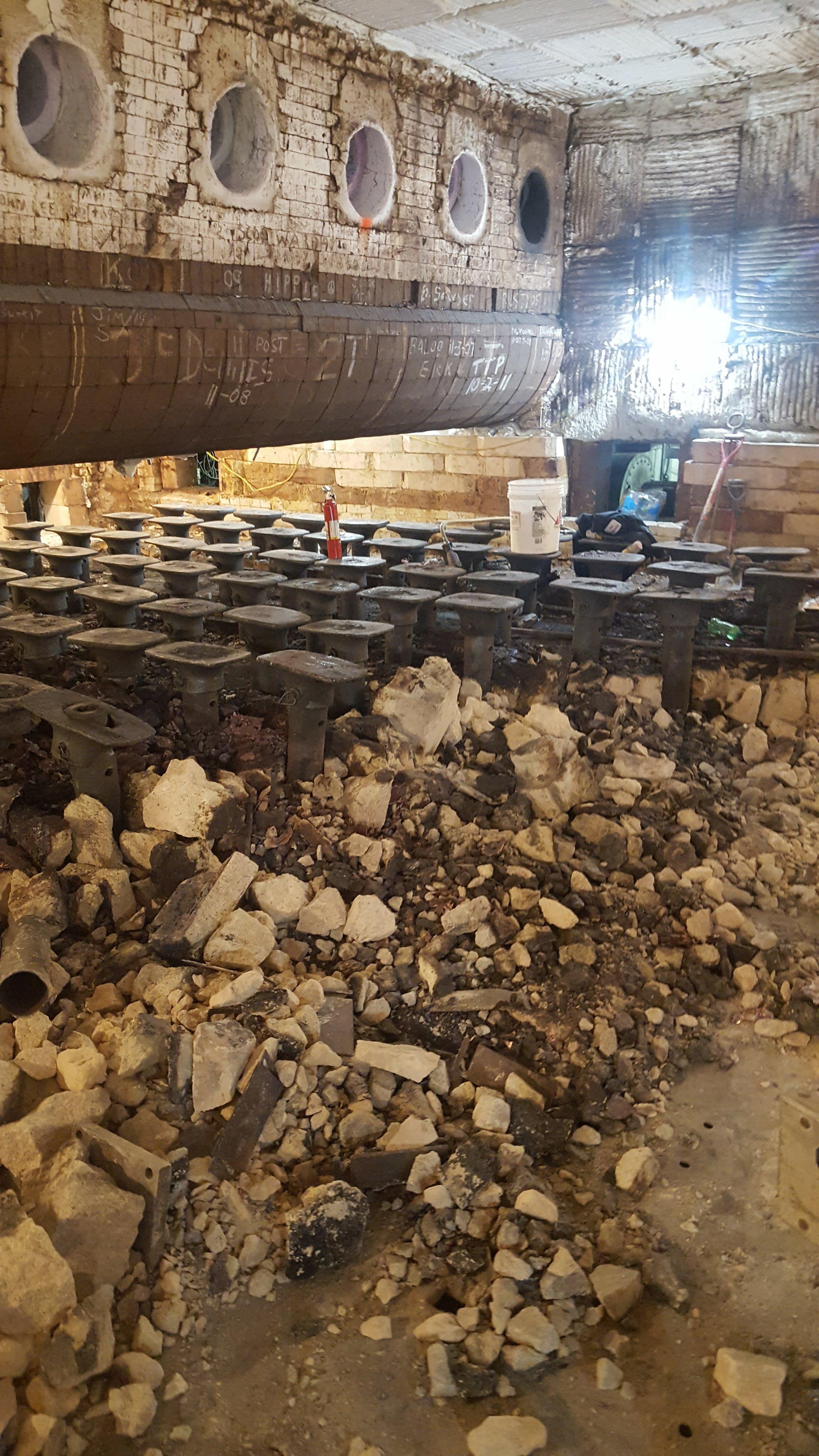 Walking Beam Furnace Floor Demolition in Progress