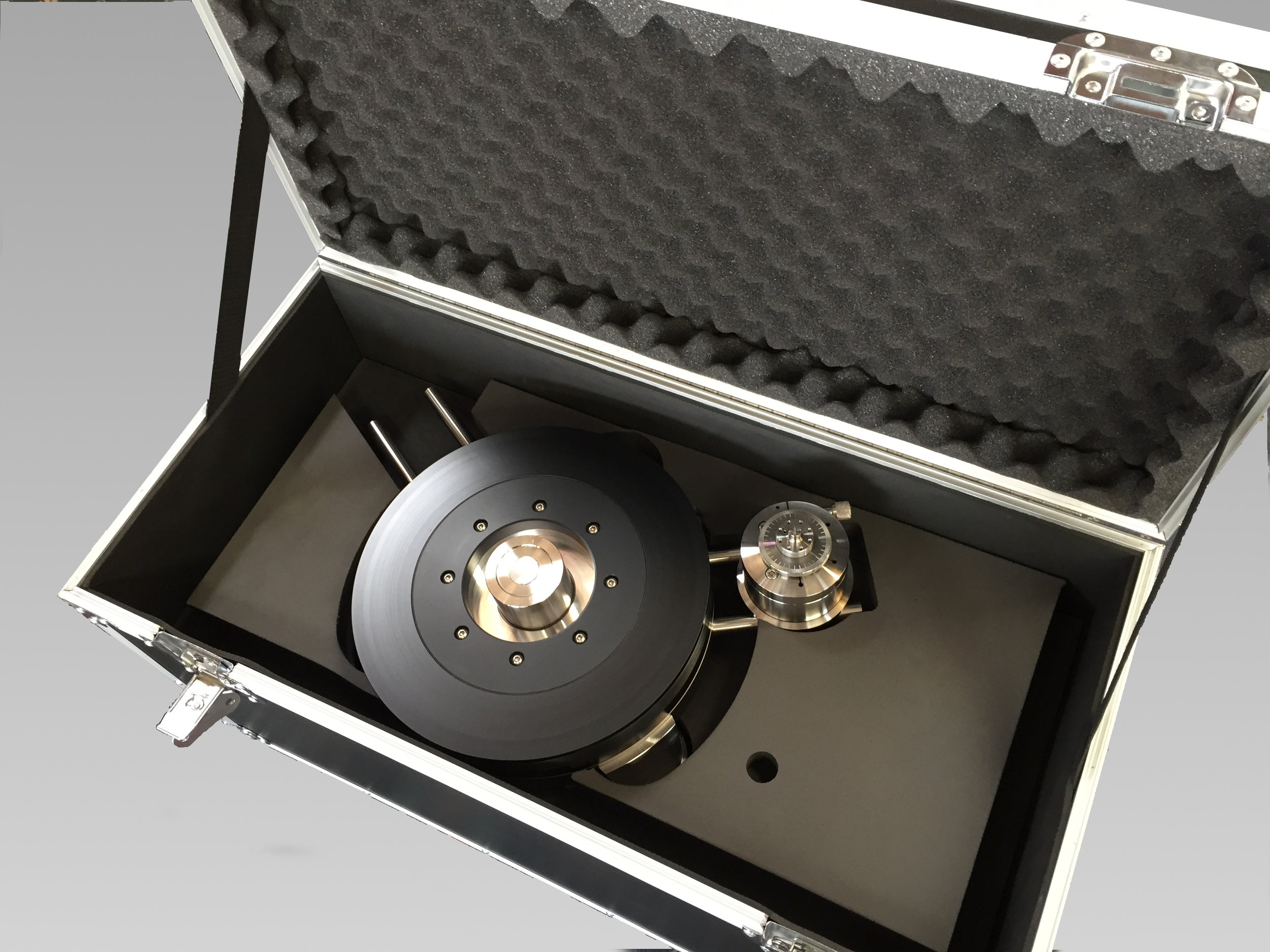 FLEXIBLE FOAM PACKAGING - This custom made case was created using flexible foam to perfectly fit and protect the Continuum Obsidian Turntable.