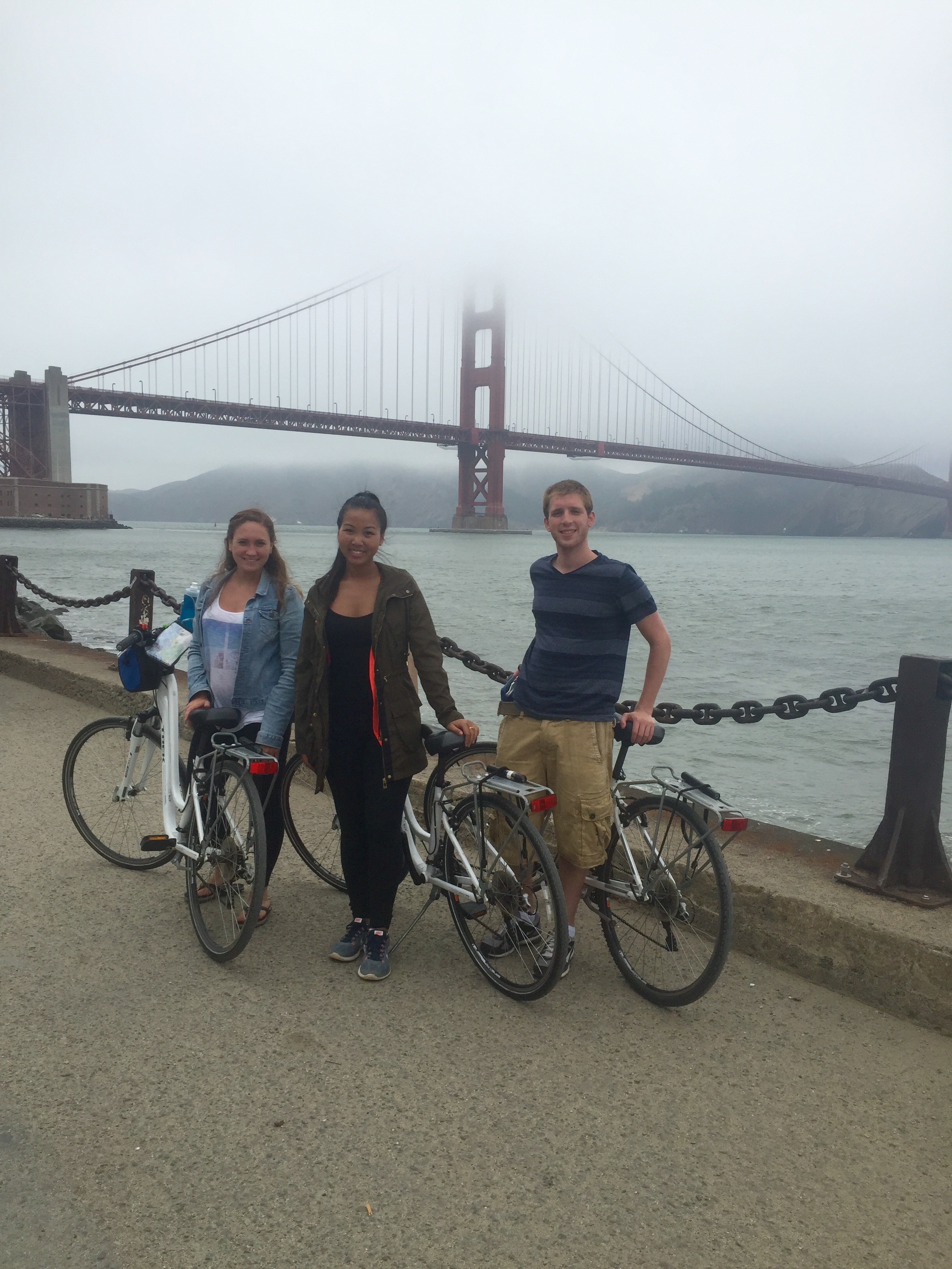 Michelle and friends at San Francisco's  Golden Gate Bridge .