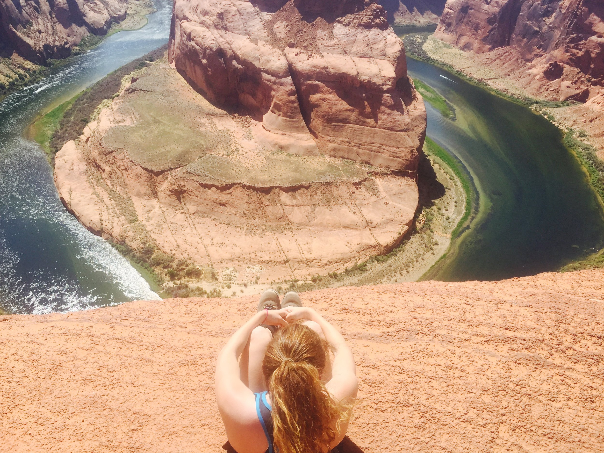 "Michelle feels it's very important to ""relax, go somewhere new, breathe, and enjoy the sunlight."" At the  Horseshoe Bend  on the Colorado River, in Arizona."