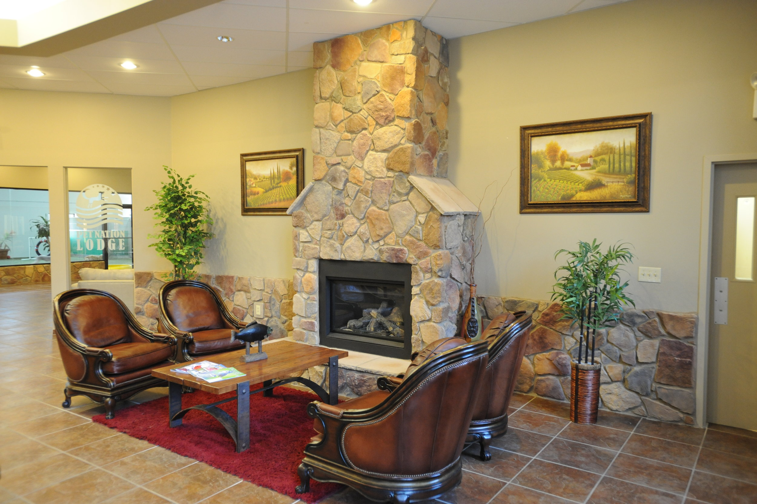 Pet Nation Lodge's lobby is always warm and welcoming.