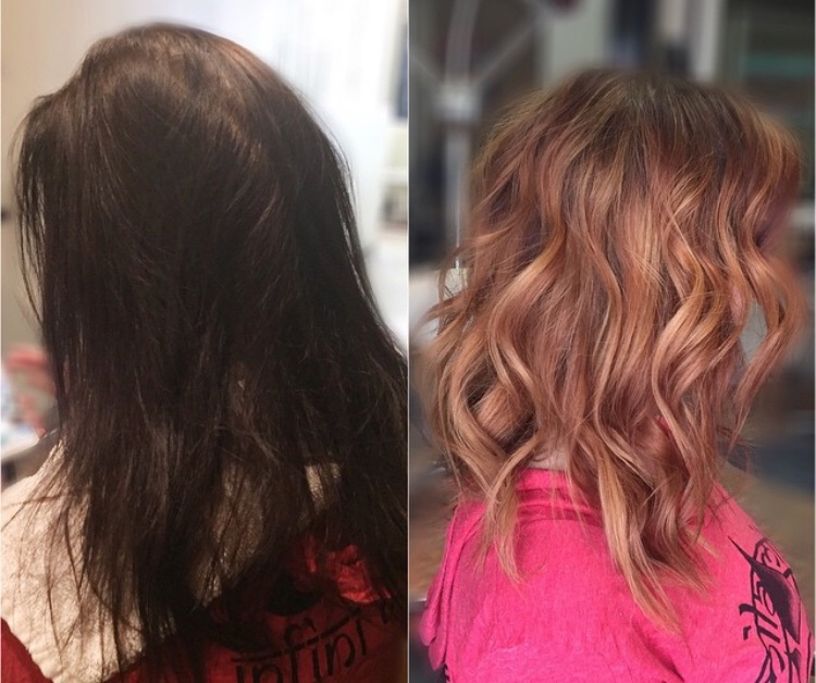 On the left you'll see the box colored hair of one of my guests. We spent 6.5 hours and three processes one day to lift it to a medium red. There is absolutely no way around the red stage when lifting hair like this. The result on the right is exceptional, as there was no damage and the color is actually livable.