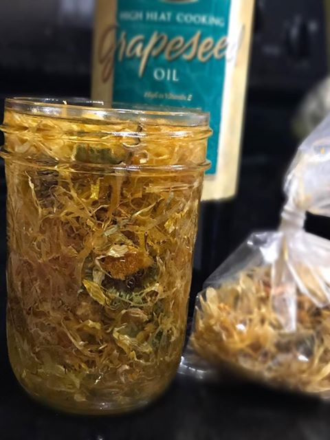Infusing Grape Seed Oil With Calendula Petals