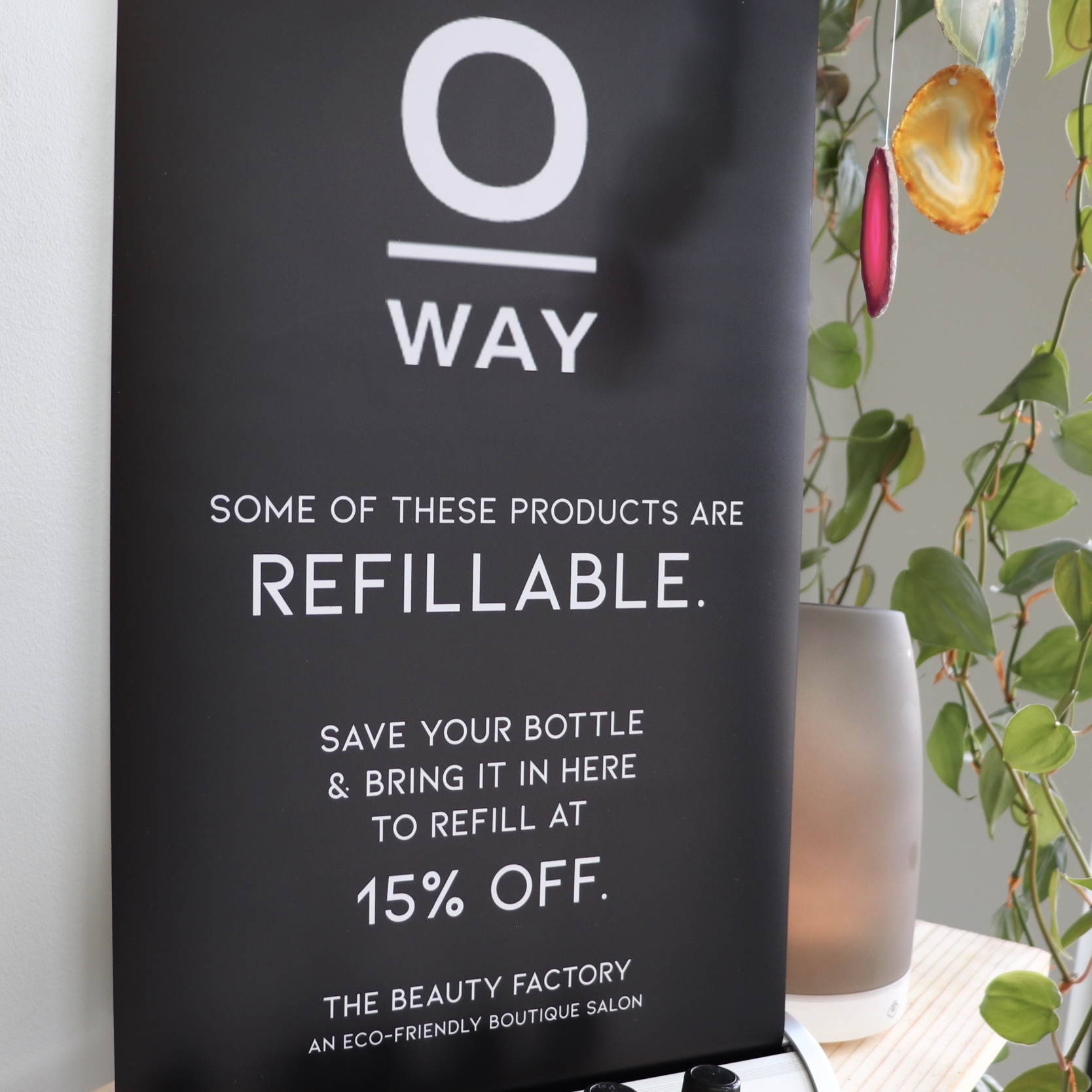 We offer a discount when you refill your shampoo bottles.