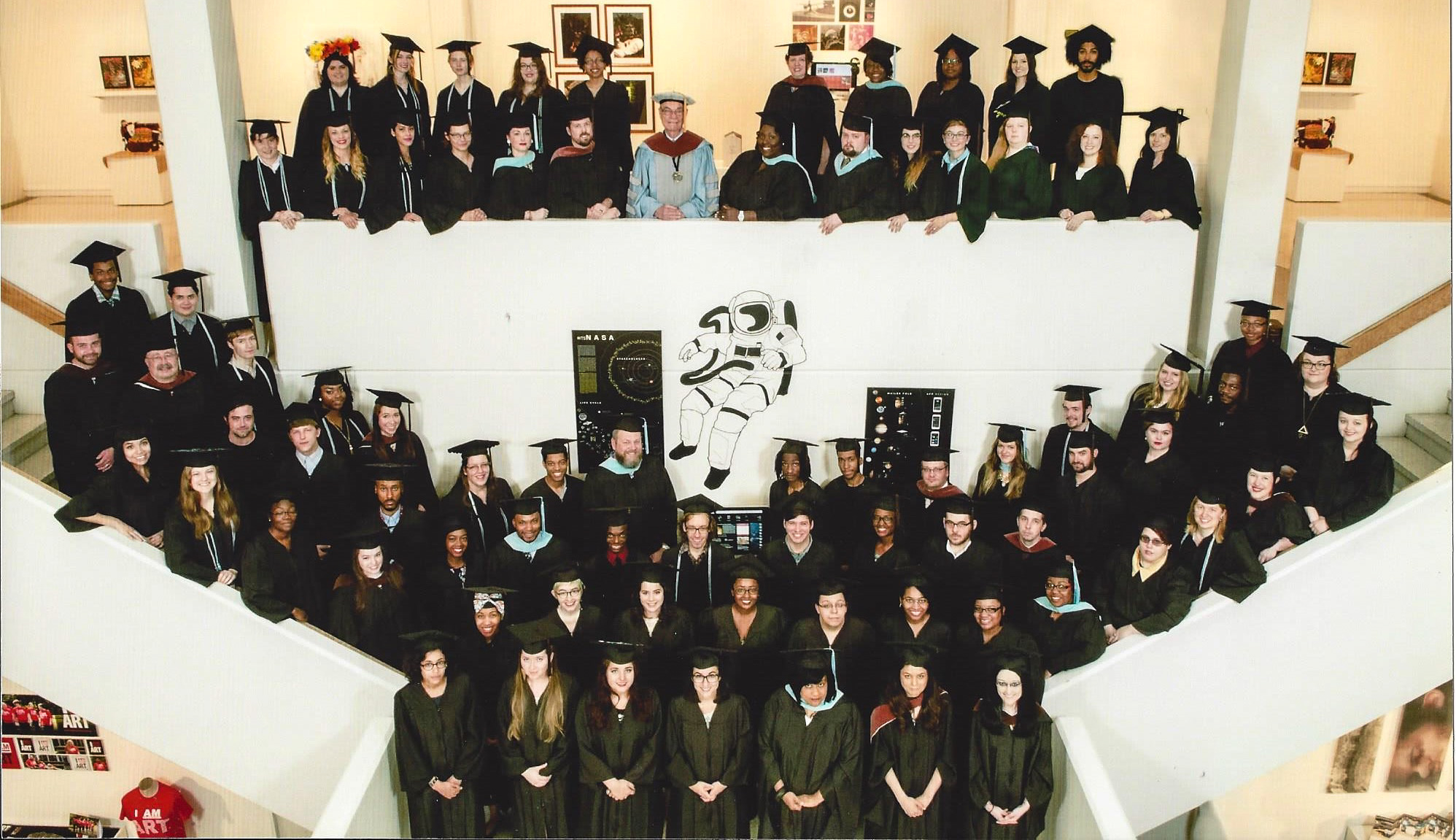 My graduating class ('15) and BFA snuggled up in the stairwell of Rust Hall <3