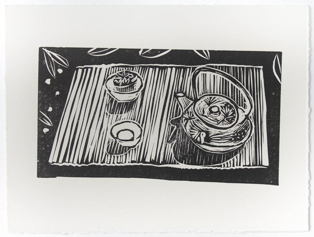 Linocut - Tea House