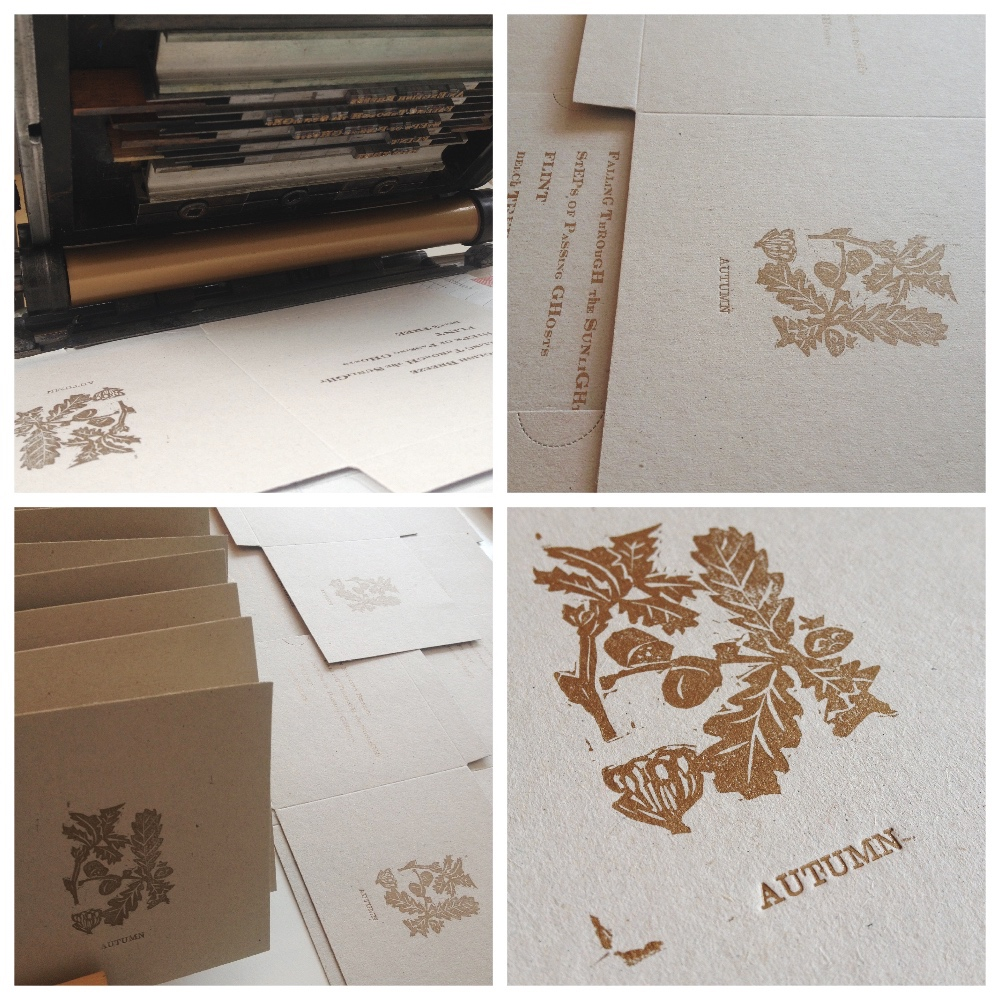 Printing Engravers Type in Gold Linseed oil based ink.  Linocut from an original botanical illustration by W.H. Fitch (1817 – 1892)  Typesetting Autumn in 10pt New Clarendon