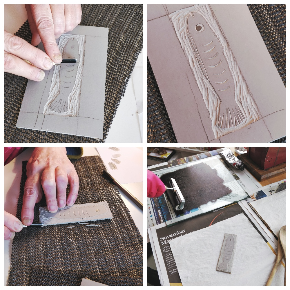After testing out mark making on different lino Vic prefers carving her fish on this battleship grey linoleum. The 'easy to carve'Softcut is not as forgiving and although it's soft and smooth like cutting through butter there's more potential for the tool to slip.Vic becomes comfortable with holding the tools and takes her time carving the lino until a fish appears in relief.