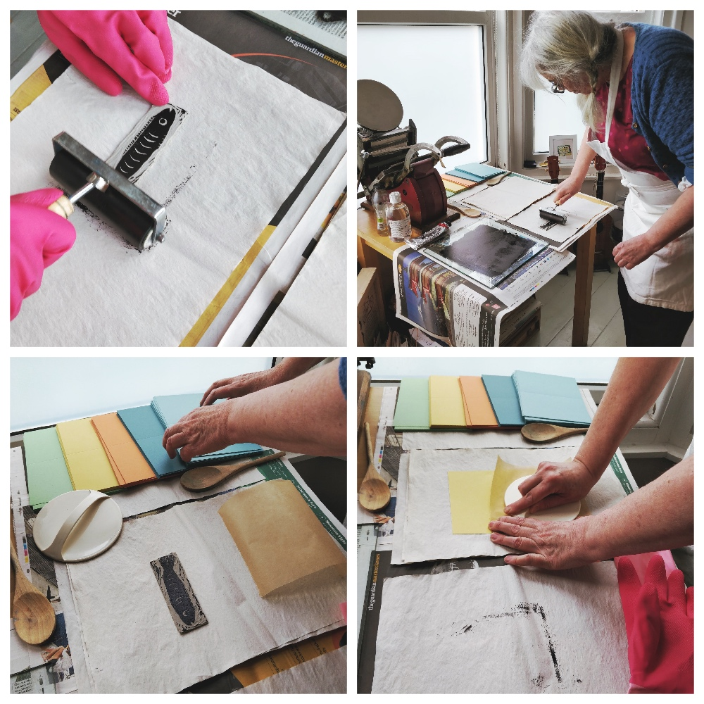 Vic uses a combination of a wooden spoon and a disc baren to print her fish in plum black letterpress ink.