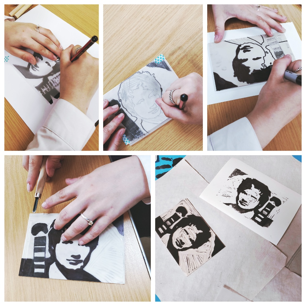 Team effort is involved in the creation of Ed Sheeran. Together they carve and roll out the ink while one holds the paper the other prints. A wonderful collaborative process.