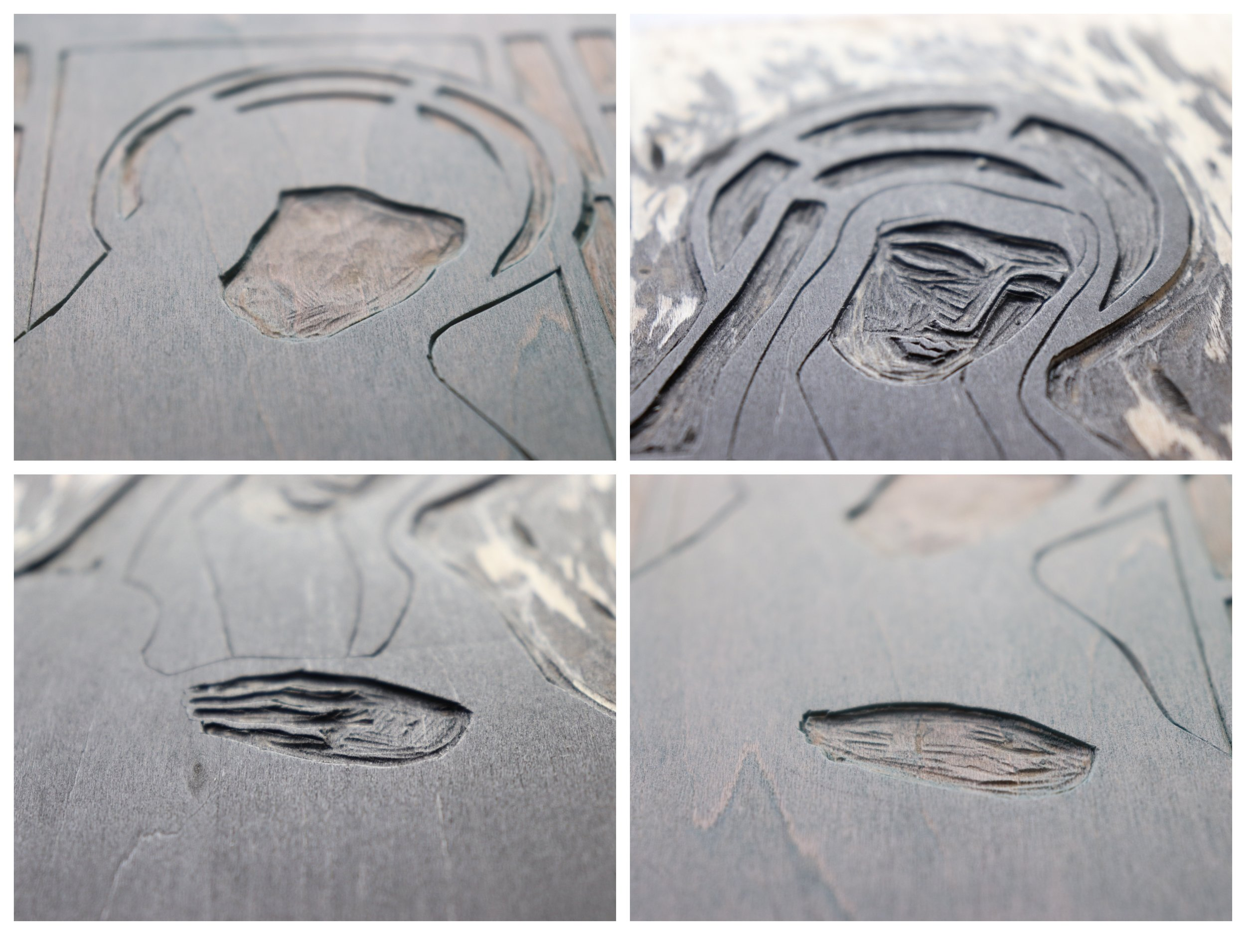Details of carved woodblock for a collection of woodblock prints 'In Praise of Saints'. Exhibiting at Centre Space Gallery from May 12th 2019.
