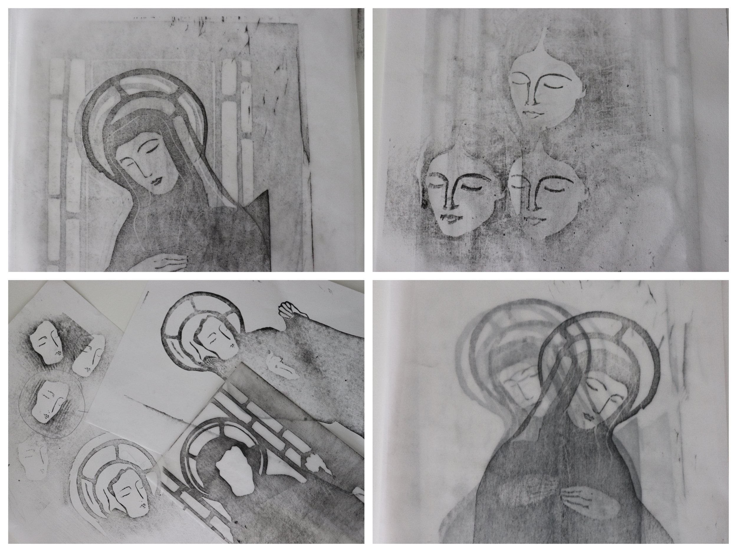 I love the different processes involved in making a print. Here are some pics of rubbings I made with carbon paper to check the images after carving the keyblocks for In 'Praise of Saints.' Top Left: Saint Catherine of Siena. Top Right: Florence Nightingale. Bottom Left: St Veronica. Bottom Right: Saint Catherine of Siena.