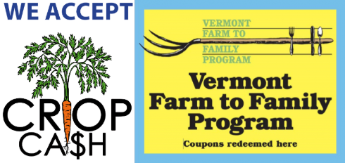 THE WATERBURY FARMERS MARKET ACCEPTS ALL FOOD ASSISTANCE PROGRAMS, INCLUDING 3SQUARESVT/SNAP. LEARN MORE AT NOFAVT.ORG/CROPCASH OR DCF.VERMONT.GOV/BENEFITS/F2F .