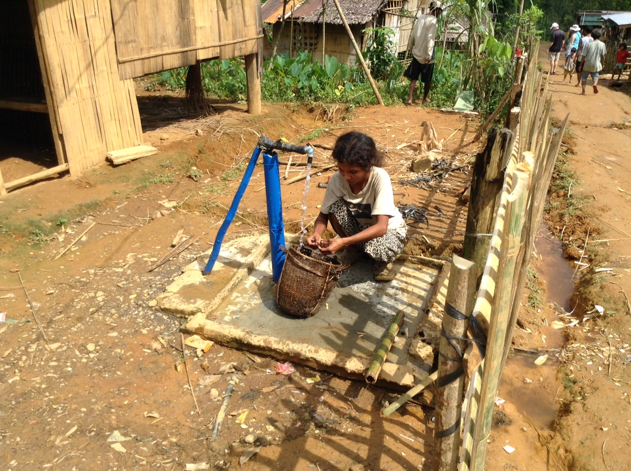 Pipes were installed to bring water into the village from a fresh mountain spring to provide the village with clean water for water faucets located throughout the village, toilets and showers and water for crops.