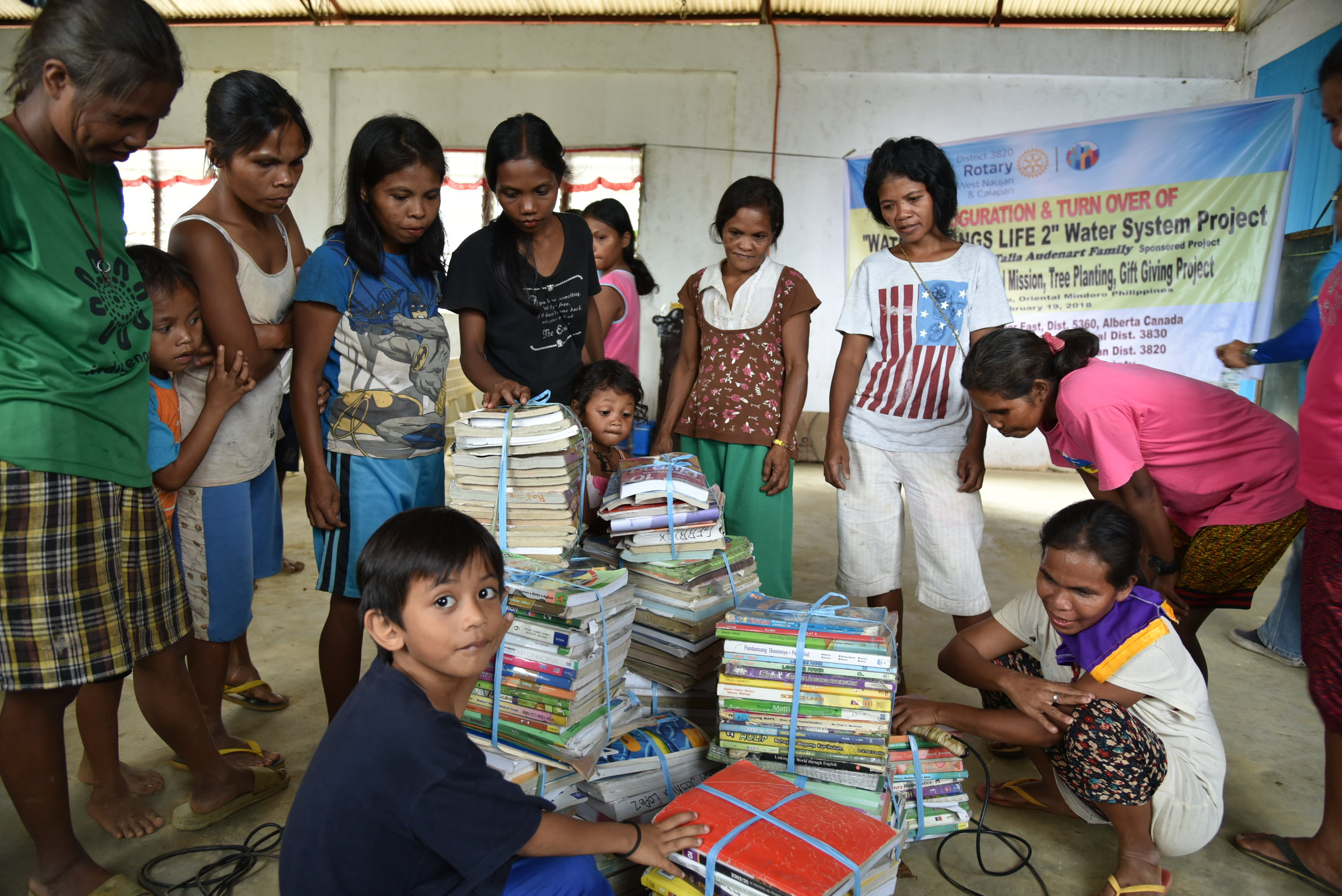 Rotary also brought out school books for the children.