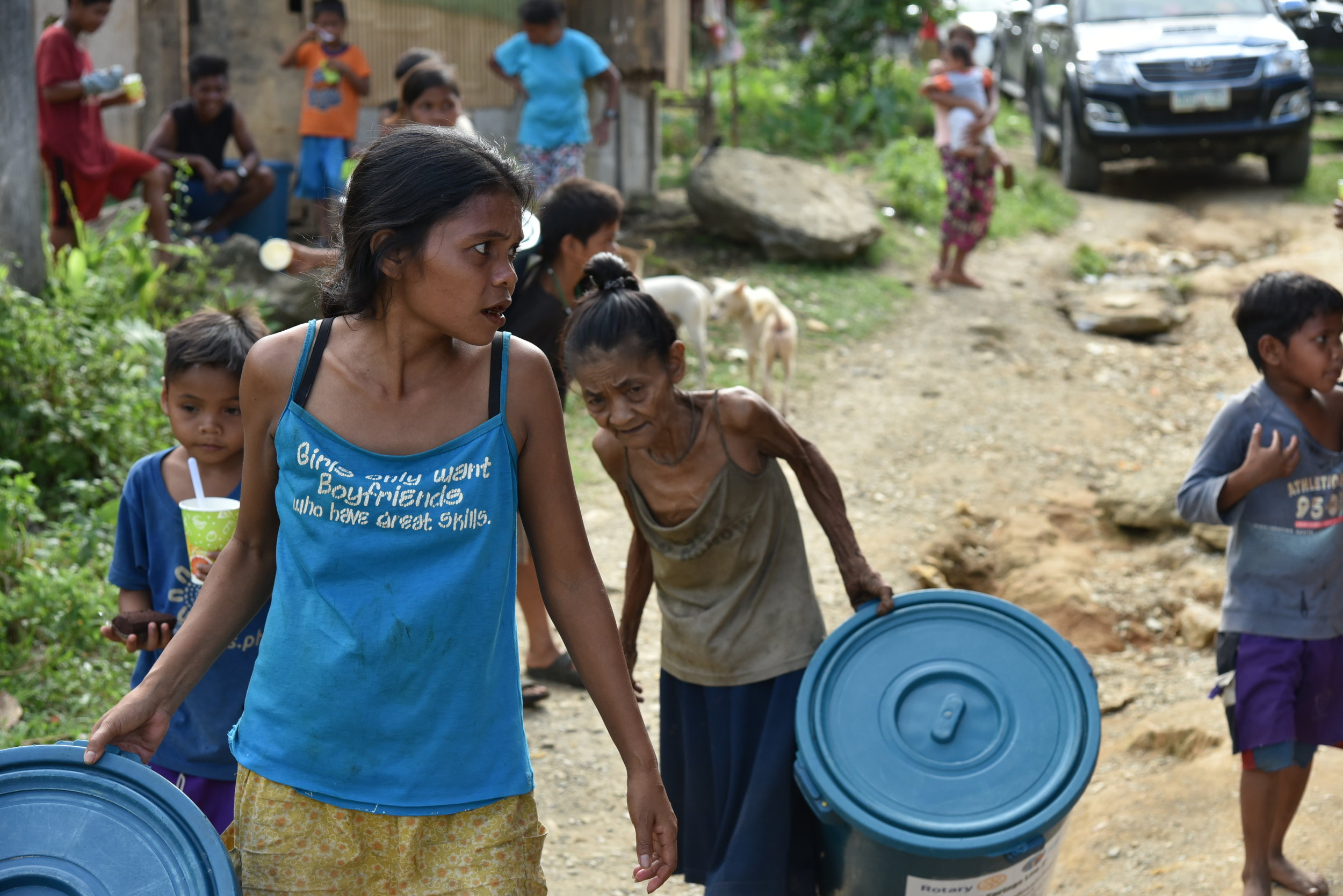 Each family received small and large containers to transport and store water.